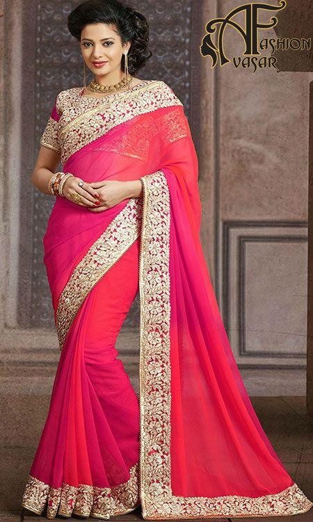 Glamorous Pink Embroidered Saree