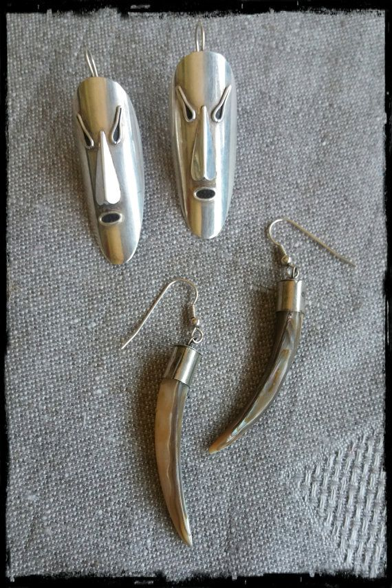 Vintage big dangle masks and fangs silver by PawhillTreasures