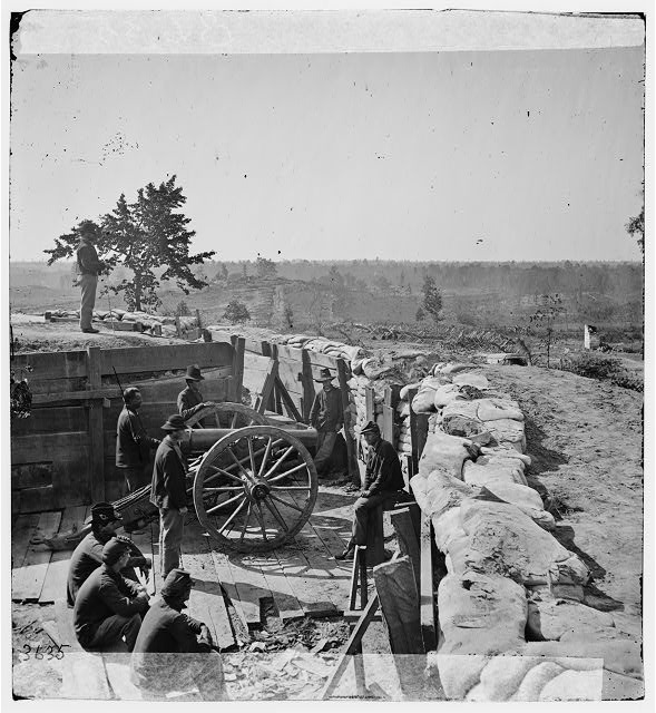 Atlanta, Ga. Federal soldiers by gun in captured fort. [1864].