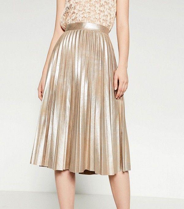 Zara Finely Pleated Metallic Midi Skirt