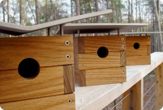 Stylish mid-century birdhouses designed by architects.  Birds can have a nice looking place to visit.