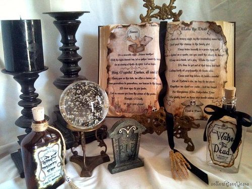 ADDAMS family SEANCE Spell incantation Wake the Dead altered BOOK prop on etsy