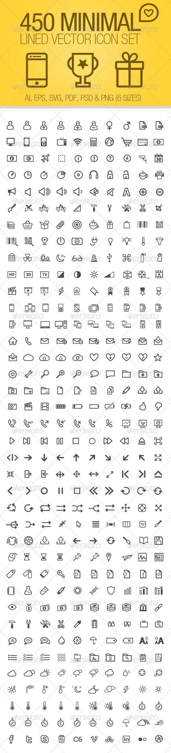 450 Minimal Lines Vector Icons Set - Icons