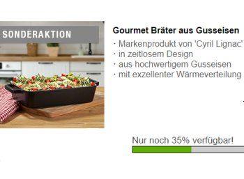 Druckerzubehoer.de: Gourmet-Bräter für 8,97 Euro plus Versand https://www.discountfan.de/artikel/essen_und_trinken/druckerzubehoer-de-gourmet-braeter-fuer-897-euro-plus-versand.php Passend zum bevorstehenden Fest ist jetzt bei Druckerzubehoer.de ein Gourmet-Bräter zum Schnäppchenpreis von 8,97 Euro plus Versand zu haben. Kostenlos dazu gibt es zwei weitere Artikel. Druckerzubehoer.de: Gourmet-Bräter für 8,97 Euro plus Versand (Bild: Druckerzubehoer.de) Der Gourmetbrä