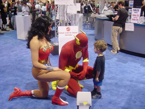 """This kid had lost his dad in the crowd, and freaked out until he saw the Flash and Wonder Woman. He went up to the Flash to ask for help, because he knows him."" adorable!! Faith in Humanity restored!The Flash, Theflash, Wonder Women, Human Restoration, Super Heroes, Wonder Woman, Justice League, Little Boys, Superhero"