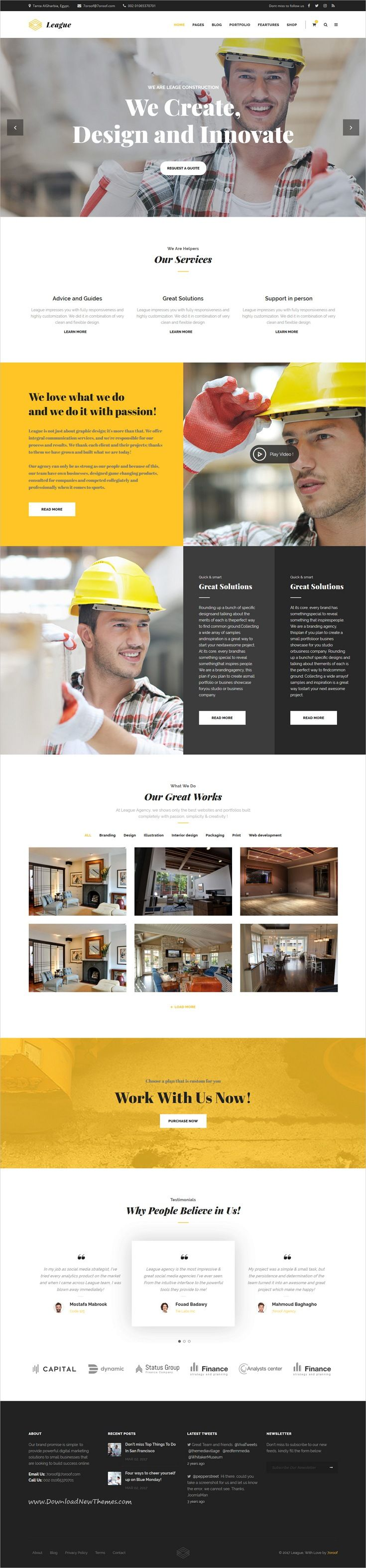 Business League is clean and modern design responsive multipurpose #WordPress theme for #construction and #building company website with 35+ awesome niche homepage layouts to live preview & download click on Visit