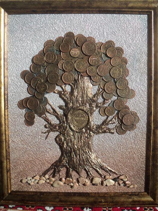 Панно денежное дерево с монетками