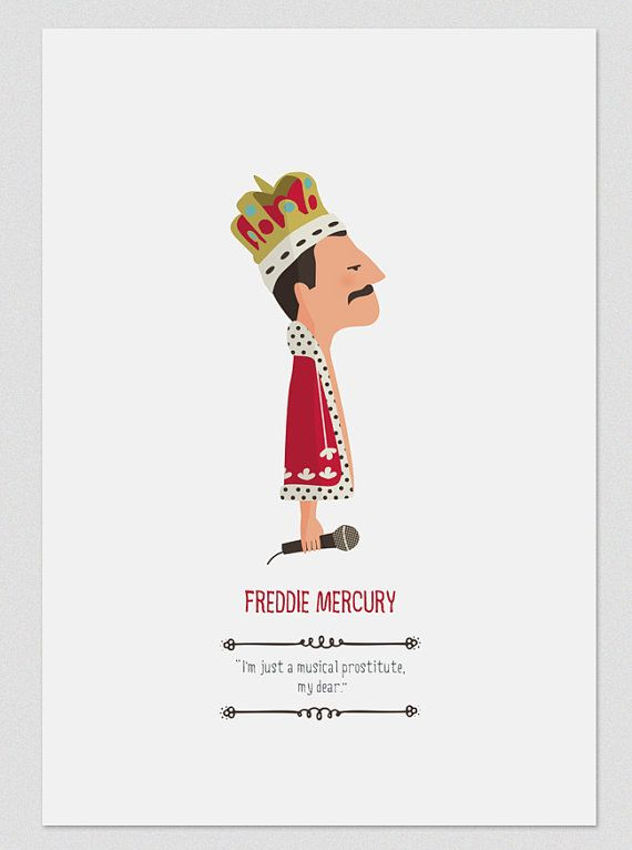 Print 'Freddie Mercury' with quote, Illustration to Adorn your Dwelling, Personalized Present, Tutticonfetti
