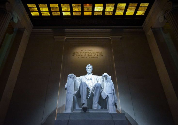#abraham lincoln #america #architecture #art #building #historic #indoors #landmark #light #low angle shot #monument #museum #person #places of interest #president #room #sculpture #statue #tourism #united states of