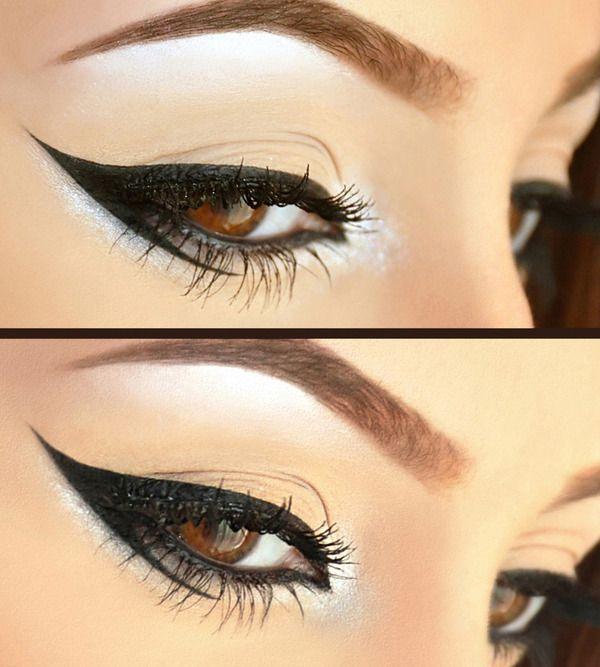 Delineado original en ojos marrones de gata con paso a paso!! Y mucha practica!!!