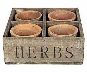 Set de 4 macetas con bandeja de madera Lukas