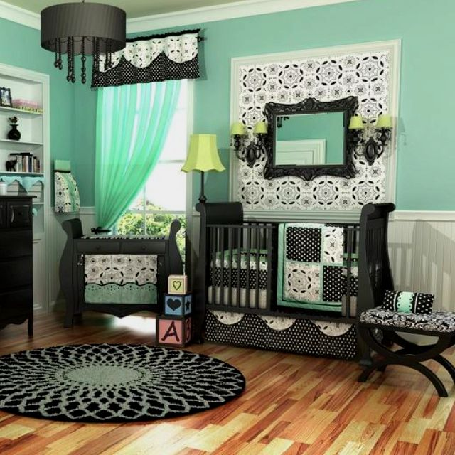 Mint green and black for baby nursery♥