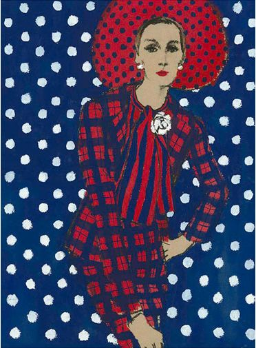 Fashion illustration by Fred Greenhill, 1967, Chanel Suit.