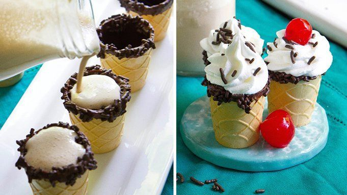 These boozy ice cream shots are served in a chocolate-rimmed ice cream cone cup!