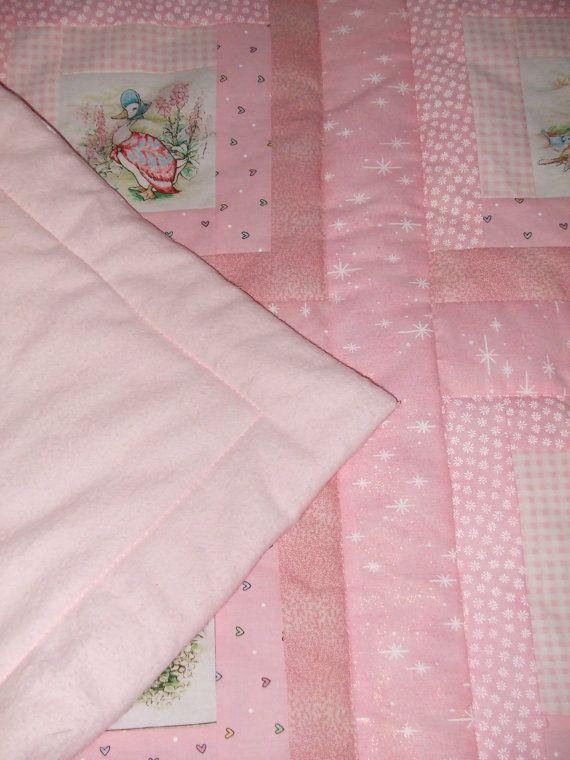 Pink Beatrix Potter Baby Quilt