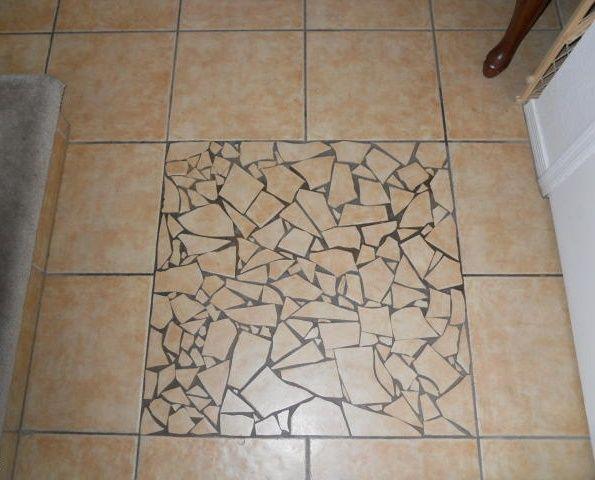 Ugly Cracked Shard Tile Mosaic Amateur Floor Phoenix