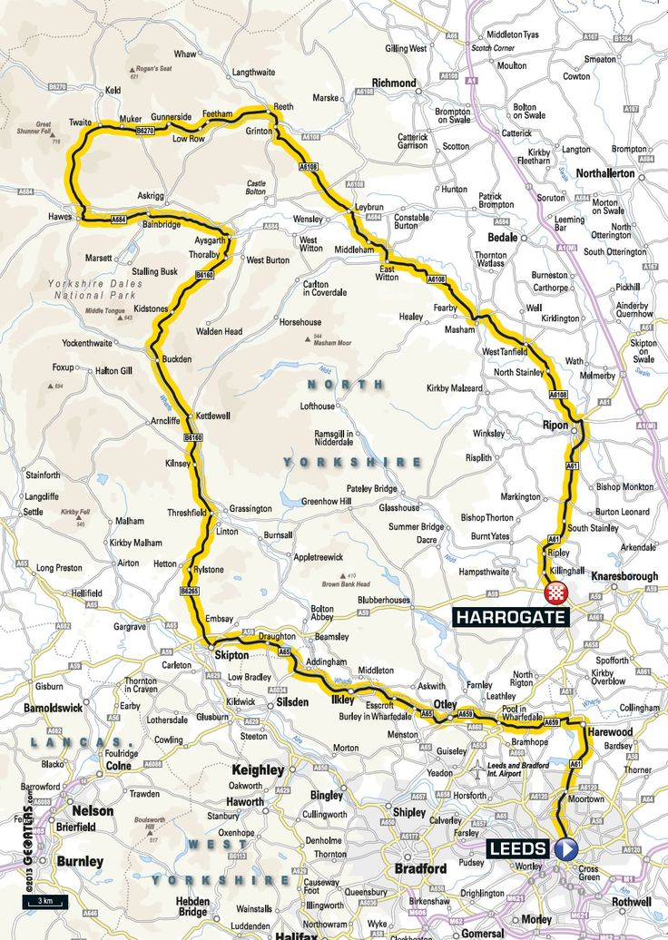 Stage 1 for the Yorkshire Grand Départ 2014 Going through Leyburn.