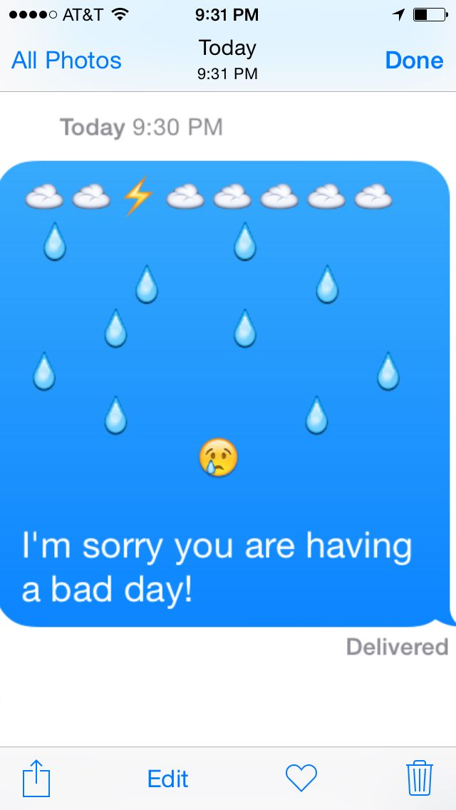 An emoji picture text to send to someone having a bad day, to show how much you empathize.