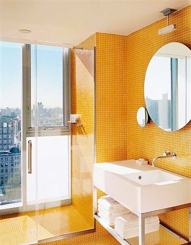 hotel on rivington new york usa mini tiles rule in this skyscraping lavatory notice also the clash of the sharp corners with the round