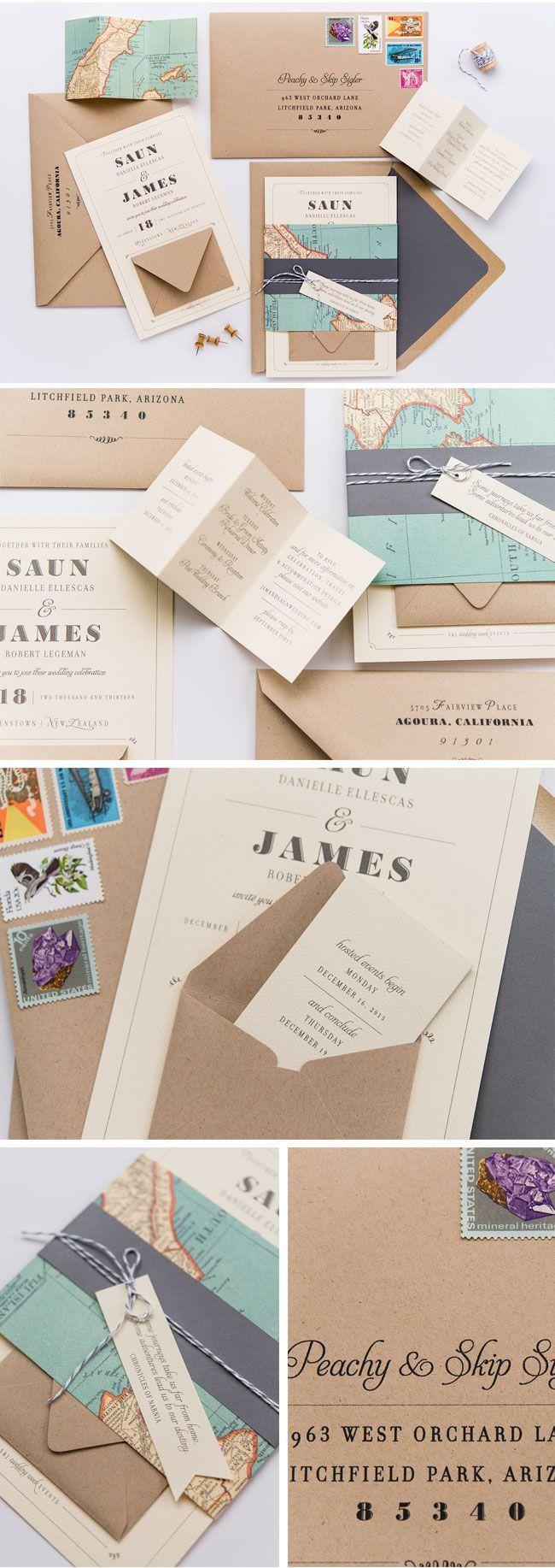 map, kraft, black and white wedding invitations
