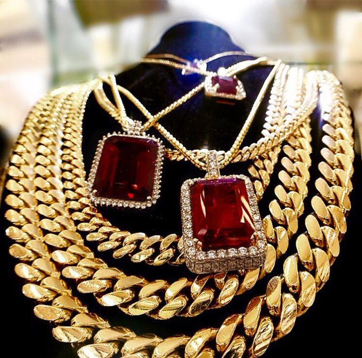 Gold Cuban Link Chains and Ruby Diamond Pendants