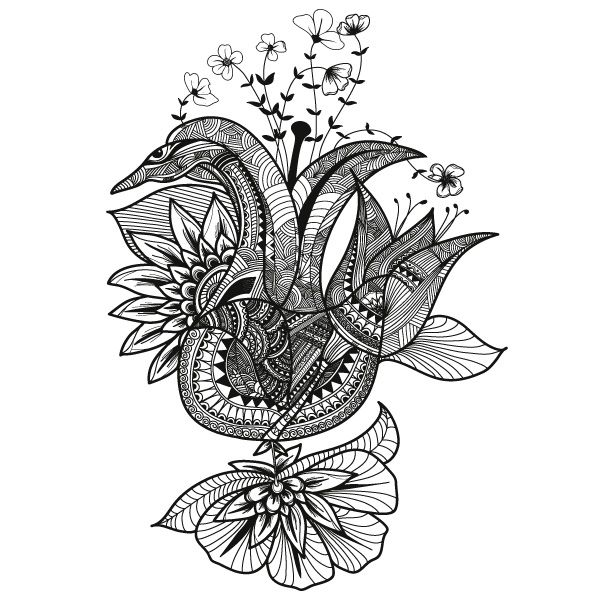 488dsn Fleur du Brancovan 13 - drawing zentangle