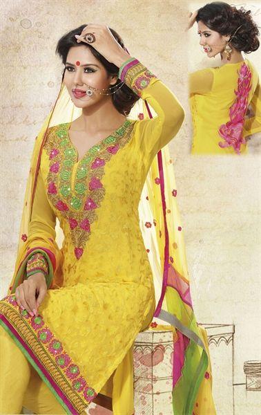 Tempting Yellow Color Traditional Paty Wear Salwar Kameez with Dupatta HSPUNI1531 - www.indianwardrobe.com