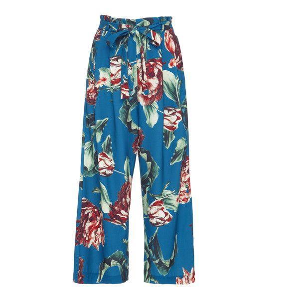 PatBO Botanica Print Tie-Waist Culottes ($375) ❤ liked on Polyvore featuring pants, capris, floral, cropped pants, high waisted wide leg pants, high waisted tie pants, wide leg cropped pants and high-waisted wide leg pants