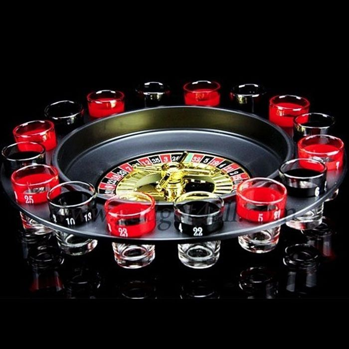 Shot Glass Roulette Set Novelty Drinking Game with 16 Shot Glasses
