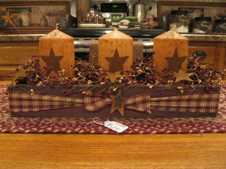 Candle Box with candles and stars. Easy way to use a low wooden box and stars can be cutout tin sprayed to the color you like.