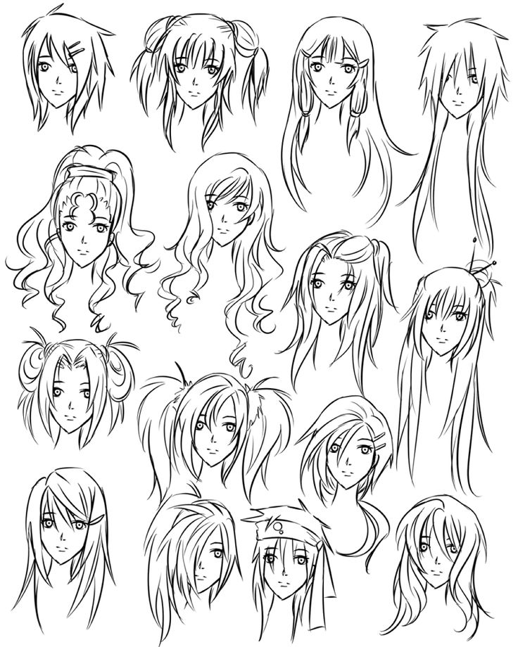 drawing anime girl hair styles
