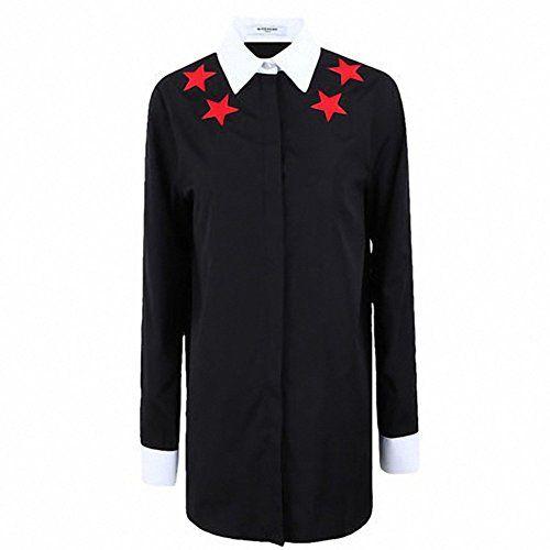 ジバンシィ 14AW スターパッチ ホワイトネック ブラックシャツ