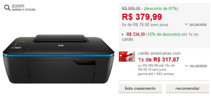 Impressora Multifuncional HP Deskjet Ink Advantage Ultra 2529 << R$ 33439 >>