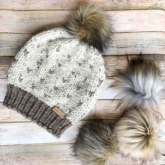 Brown and Red Pompom Beanie, Warm Winter Hat, Women\'s Fall Fashion ...