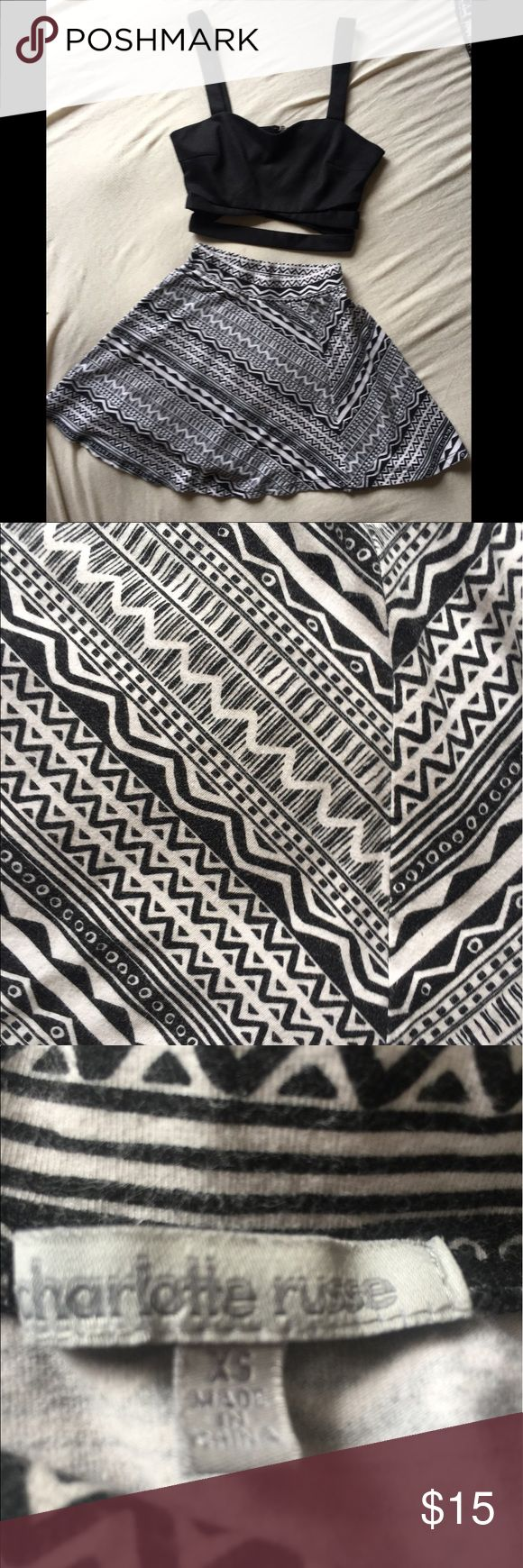 Charlotte Russe Black & White Aztec Skater Skirt Very little wear. Perfect outfit for a day out on melrose. Aztec print in black and white. XS. Charlotte Russe Skirts Circle & Skater