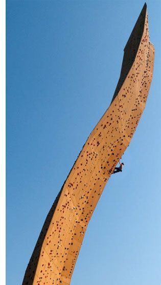 """Navigating the world's highest climbing wall (nicknamed the """"French Fry"""")"""