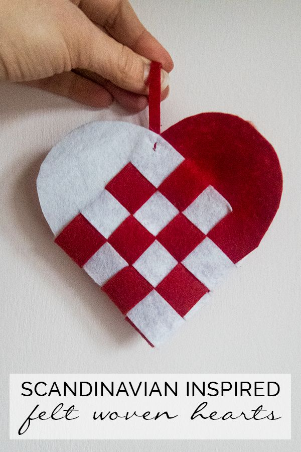 Beautiful Scandinavian DIY Woven Heart ornaments - these can be easily made from Felt or Card and look lovely as Valentines or Christmas Decorations. Lovely