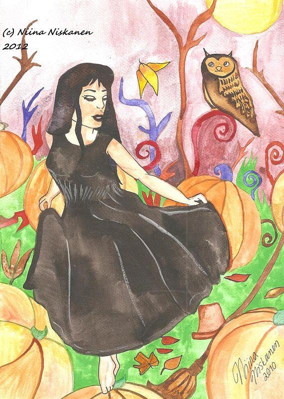 Samhain Pumpkin Fields Original Watercolor Painting Autumn Art