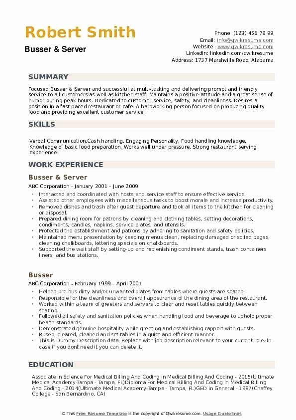 Busser Job Description Resume Inspirational Busser Resume Samples In 2020 Job Resume Examples Manager Resume Medical Resume