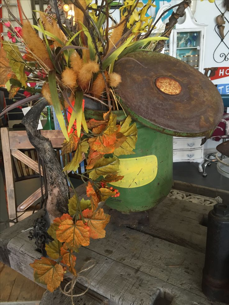 Vintage John Deere planter would make an awesome center piece for any occasion.
