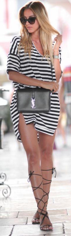 Black and white striped T-shirt dress, lace up sandals and a statement bag. Yeah, we approve. Via Sendi Skopljak T-shirt Dress: Sheinside, Bag: YSL, Shoes: Mango, Sunglasses: Chanel. Striped Dress Outfit