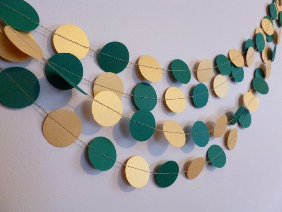 Baylor Bears party decor idea! Perfect for that grad party or tailgate! Etsy listing at https://www.etsy.com/listing/208510657/green-and-gold-shimmer-metallic-paper