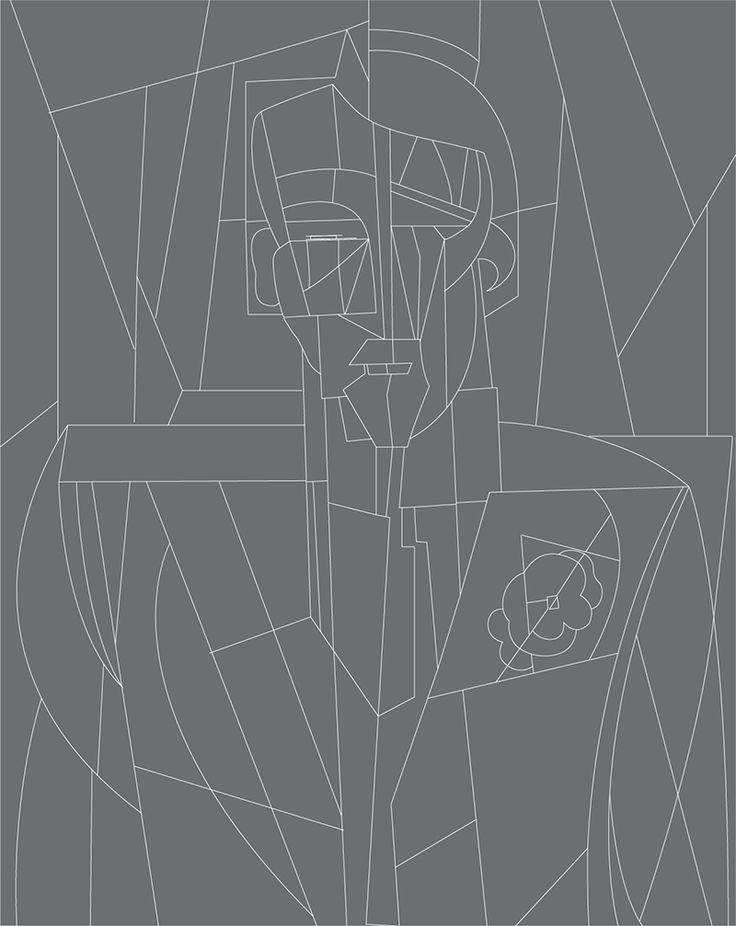 """Trazado vectorial de la obra """"El hombre de la flor amarilla"""" del pintor argentino Emilio Pettoruti."""