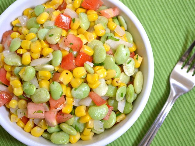 Summer Succotash - yummy, but we'll use less onion next time....or at least a smaller onion