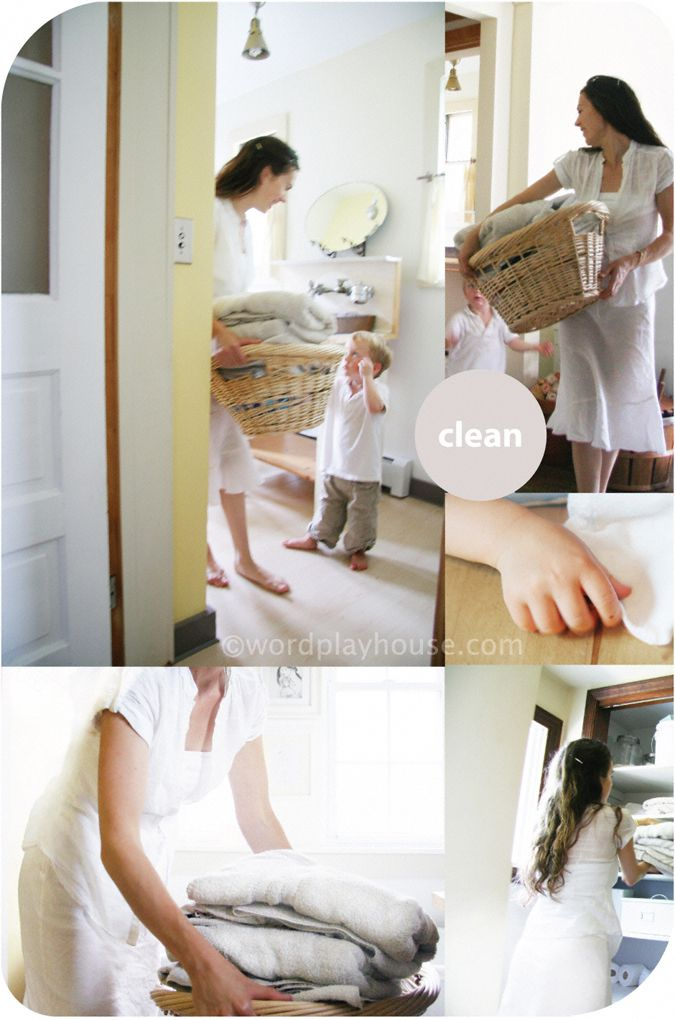 Clean calm—enjoying homekeeping with children. Tips applied from the Montessori and Waldorf teaching philosophies to bring calmness and joy into organizing, tidying, and cleaning.  What chores have you taught your child to do on their own?