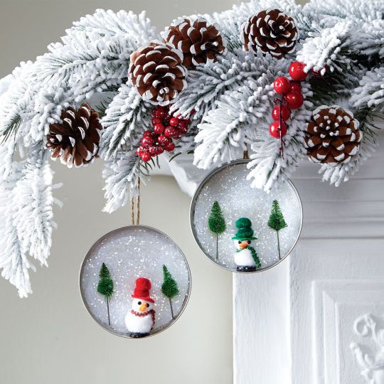 Put those leftover Mason jar lids to good use this Christmas with these easy Snowy Scene Lid Orn...