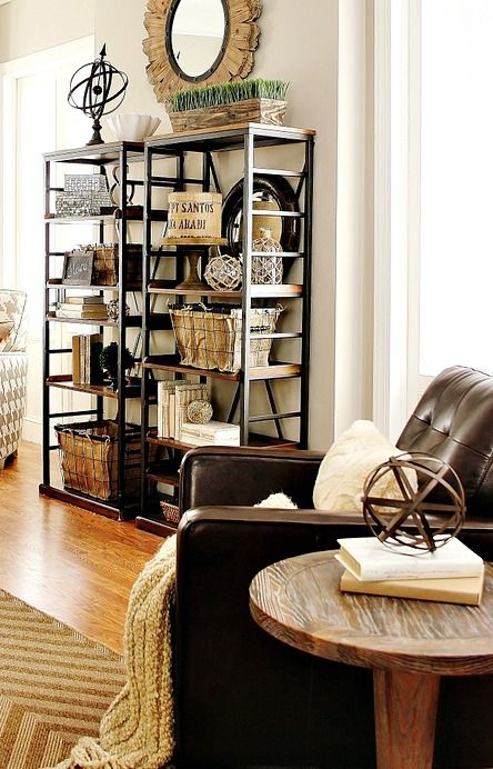 25 best ideas about industrial bookshelf on pinterest for Industrial farmhouse family room