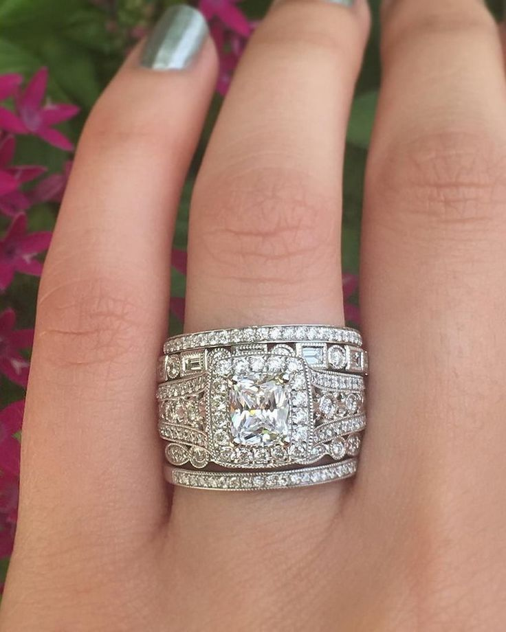Thoughts on this vintage-inspired ring stack?  #diamondring #diamonds #engagementrings #trophywife