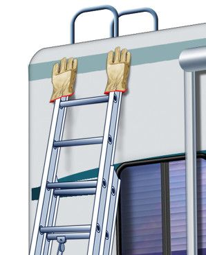 Quick RV Tip: To protect the paint on your motorhome or RV trailer when leaning a ladder against it, put gloves on the tips of the ladder!