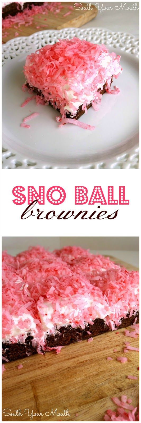 Sno Ball Brownies just like the Hostess classic snack cakes! (You can also use green dye and jelly beans or M&Ms for Easter Egg Brownies!)